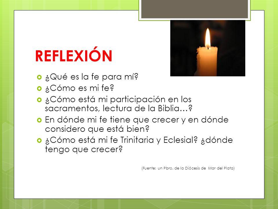 REFLEXIÓN ¿Qué es la fe para mí ¿Cómo es mi fe