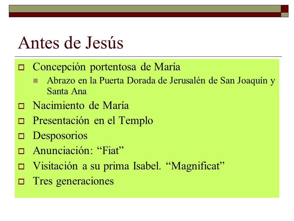 Antes de Jesús Concepción portentosa de María Nacimiento de María