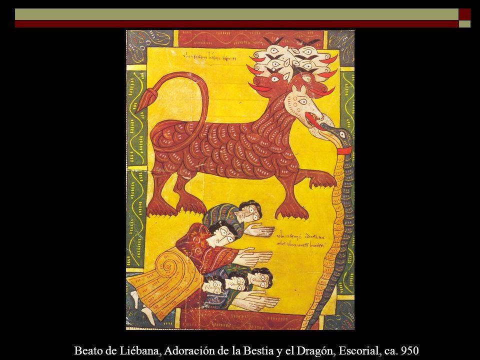 Beato de Liébana, Adoración de la Bestia y el Dragón, Escorial, ca. 950