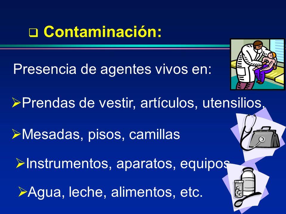 Contaminación: Presencia de agentes vivos en: