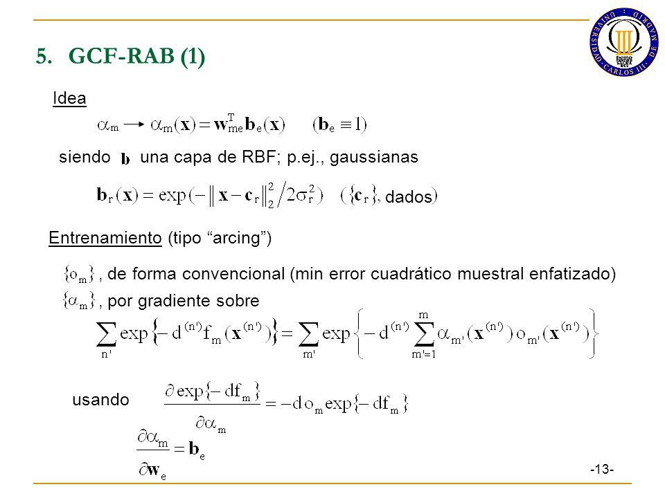 5. GCF-RAB (1) Idea siendo una capa de RBF; p.ej., gaussianas dados