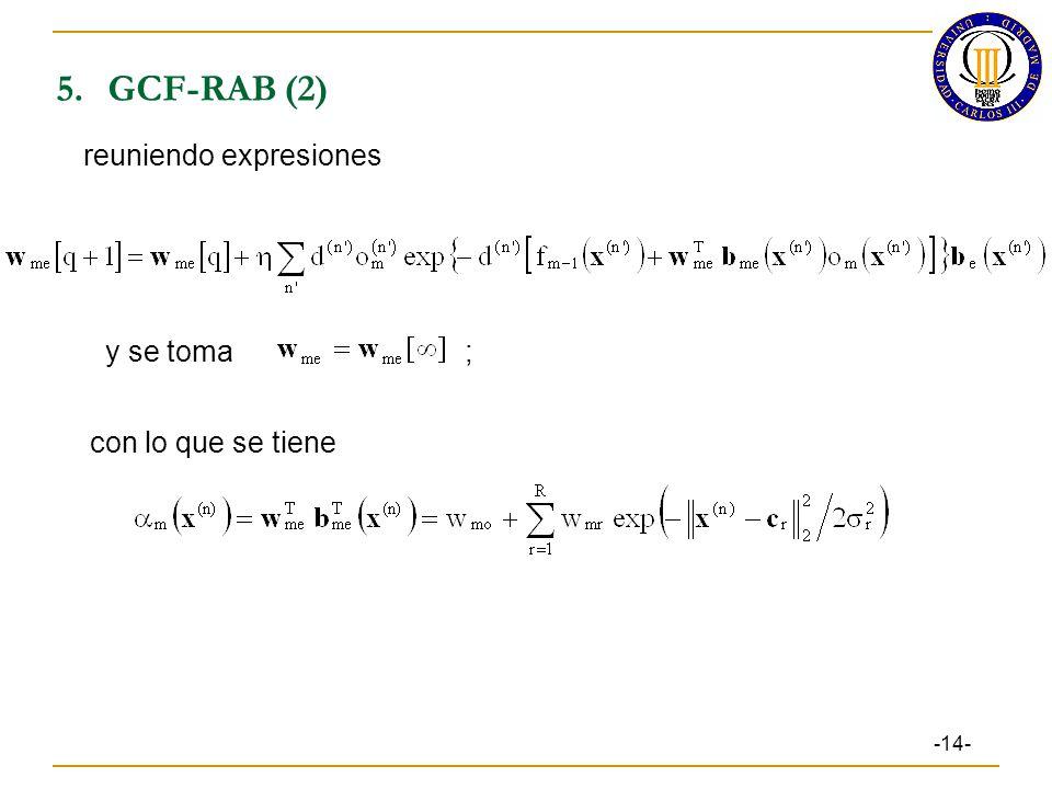 5. GCF-RAB (2) reuniendo expresiones y se toma ; con lo que se tiene