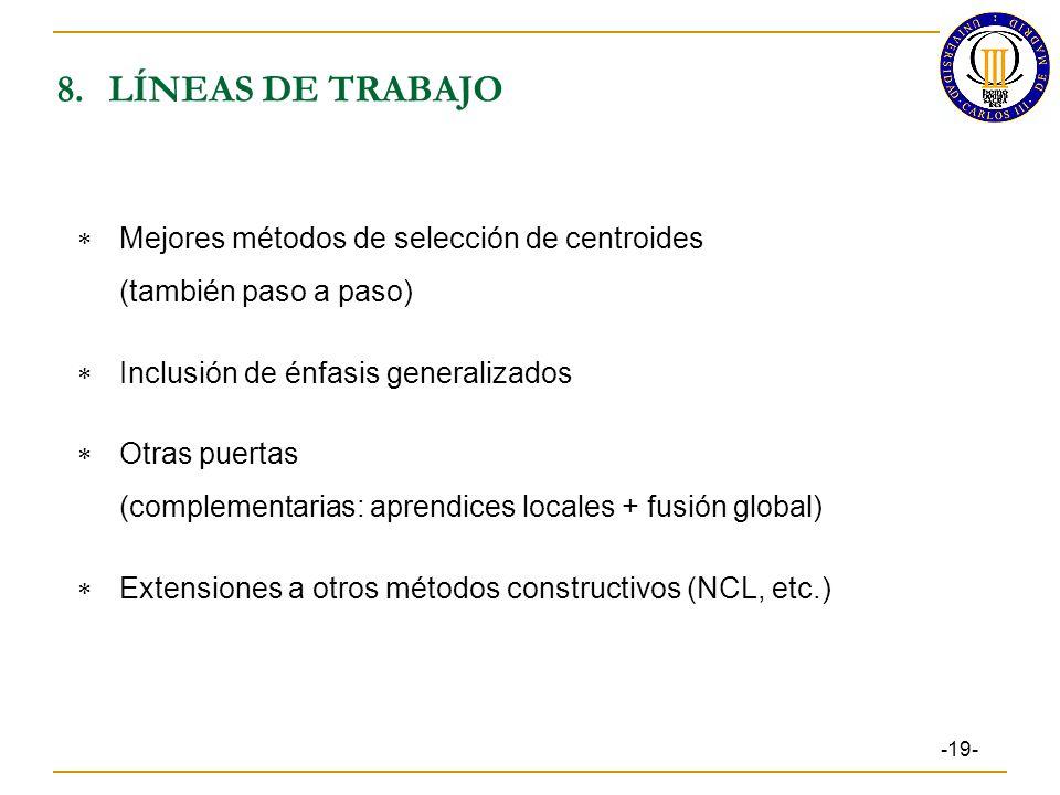 8. LÍNEAS DE TRABAJO Mejores métodos de selección de centroides
