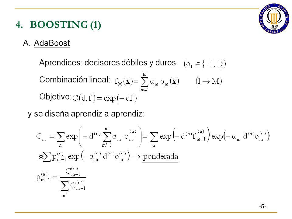 4. BOOSTING (1) A. AdaBoost Aprendices: decisores débiles y duros