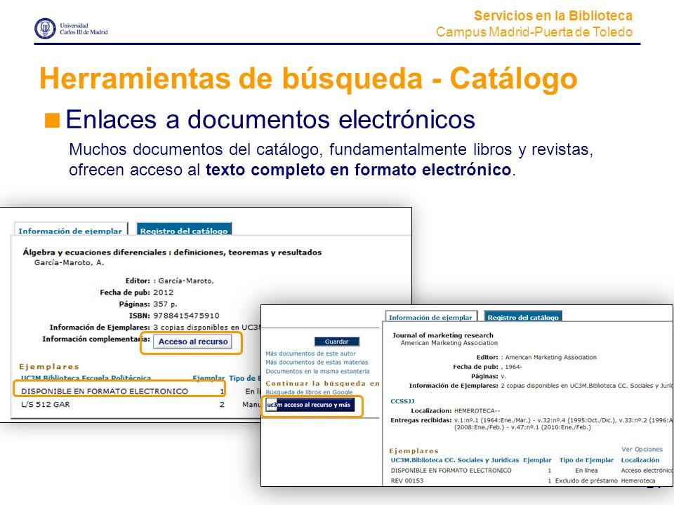 Herramientas de búsqueda - Catálogo