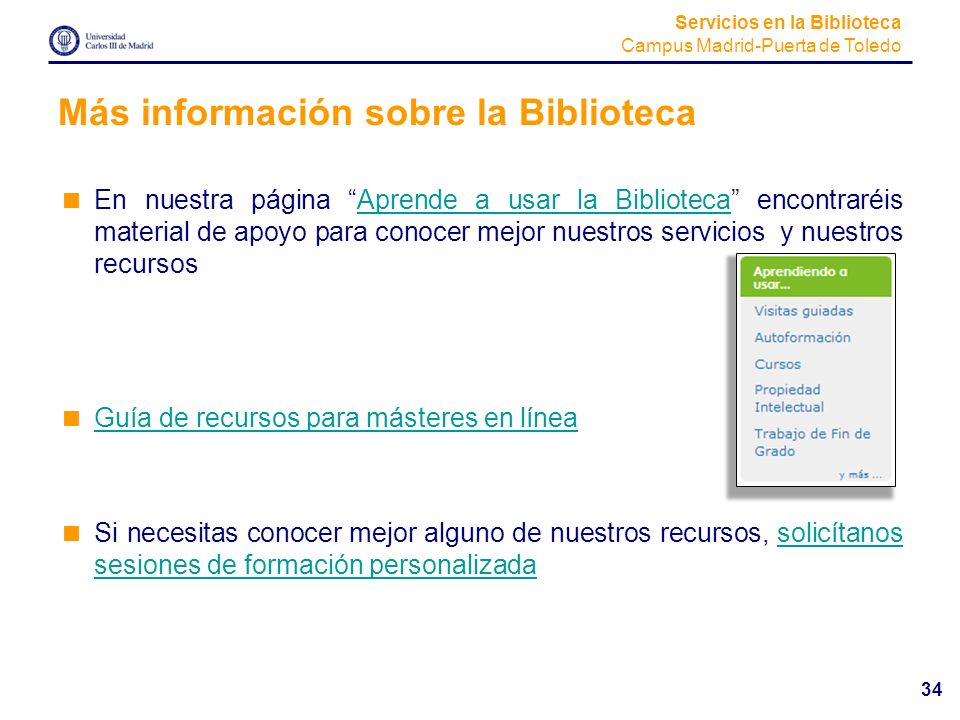 Más información sobre la Biblioteca