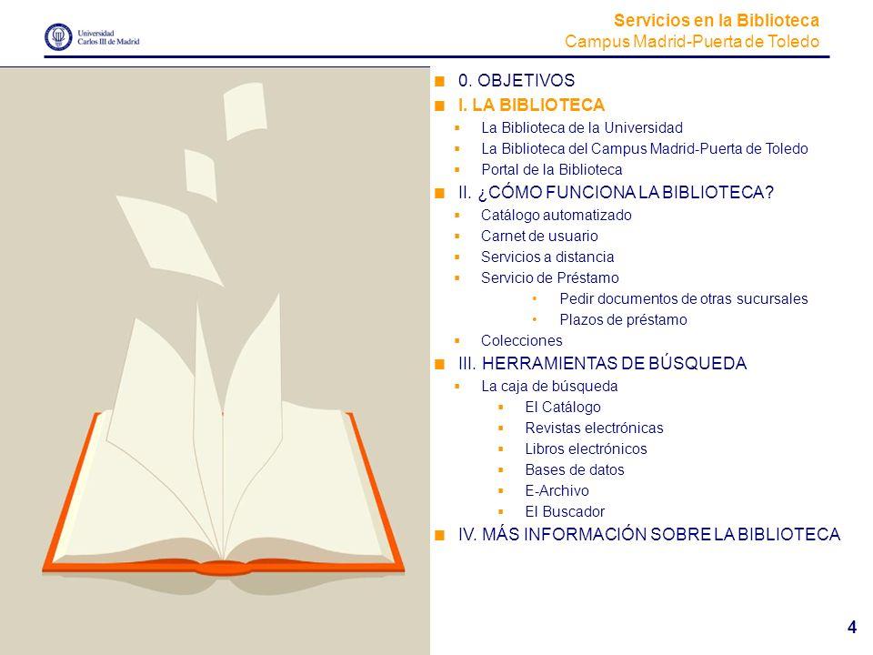 Servicios en la Biblioteca Campus Madrid-Puerta de Toledo