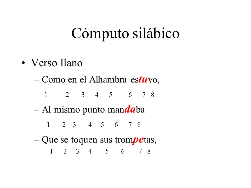 Cómputo silábico Verso llano Como en el Alhambra estuvo,