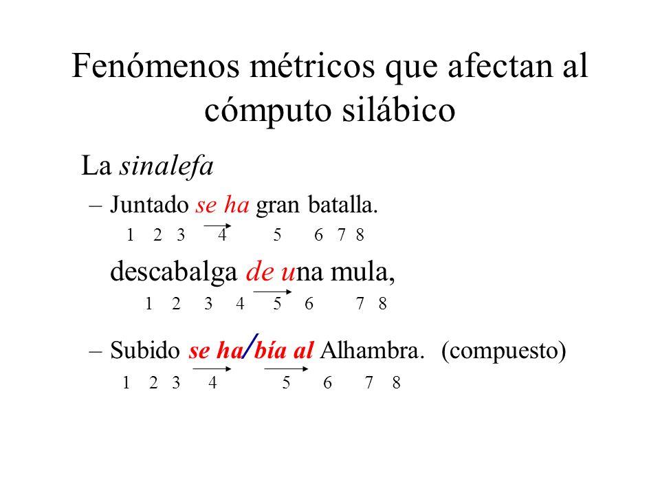 Fenómenos métricos que afectan al cómputo silábico