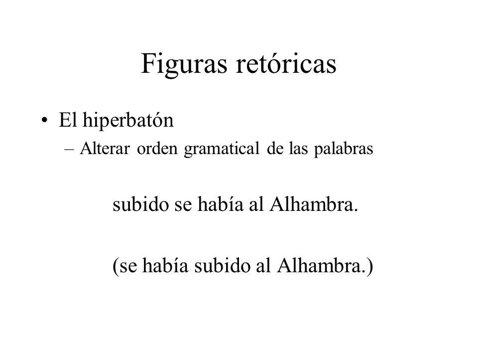 Figuras retóricas El hiperbatón subido se había al Alhambra.