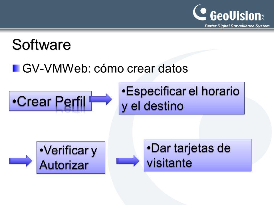 Software Crear Perfil GV-VMWeb: cómo crear datos