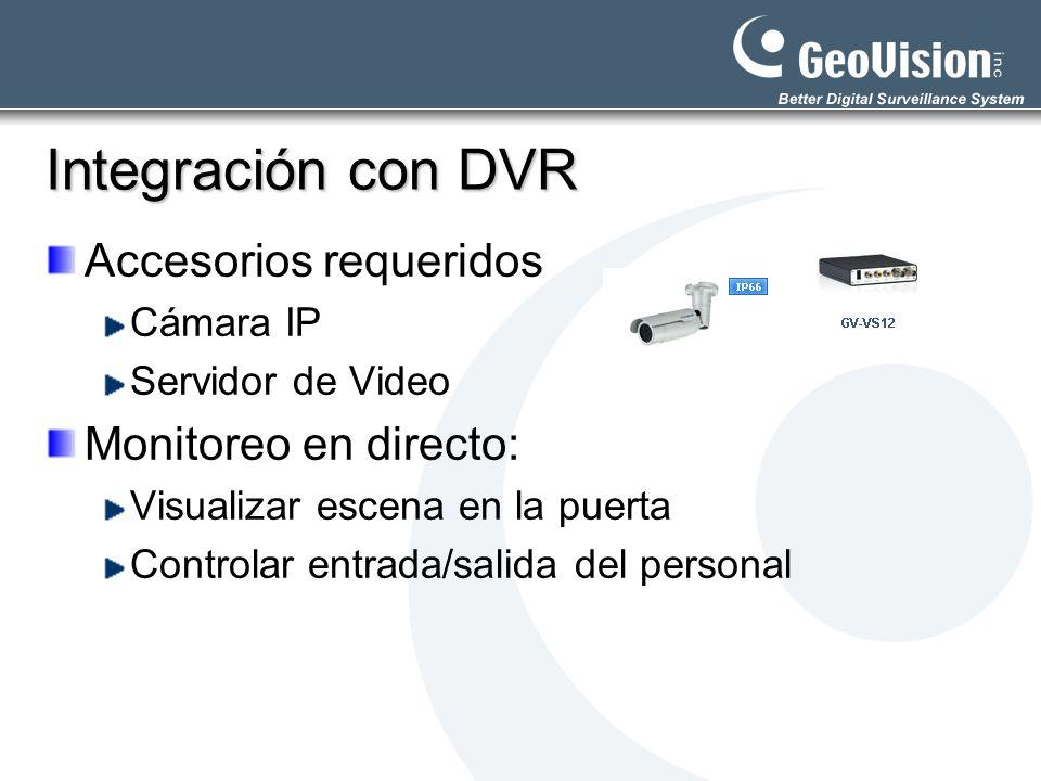 Integración con DVR Accesorios requeridos Monitoreo en directo:
