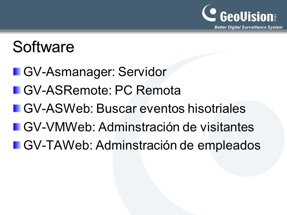 Software GV-Asmanager: Servidor GV-ASRemote: PC Remota