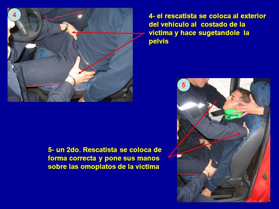 4 4- el rescatista se coloca al exterior del vehiculo al costado de la victima y hace sugetandole la pelvis.