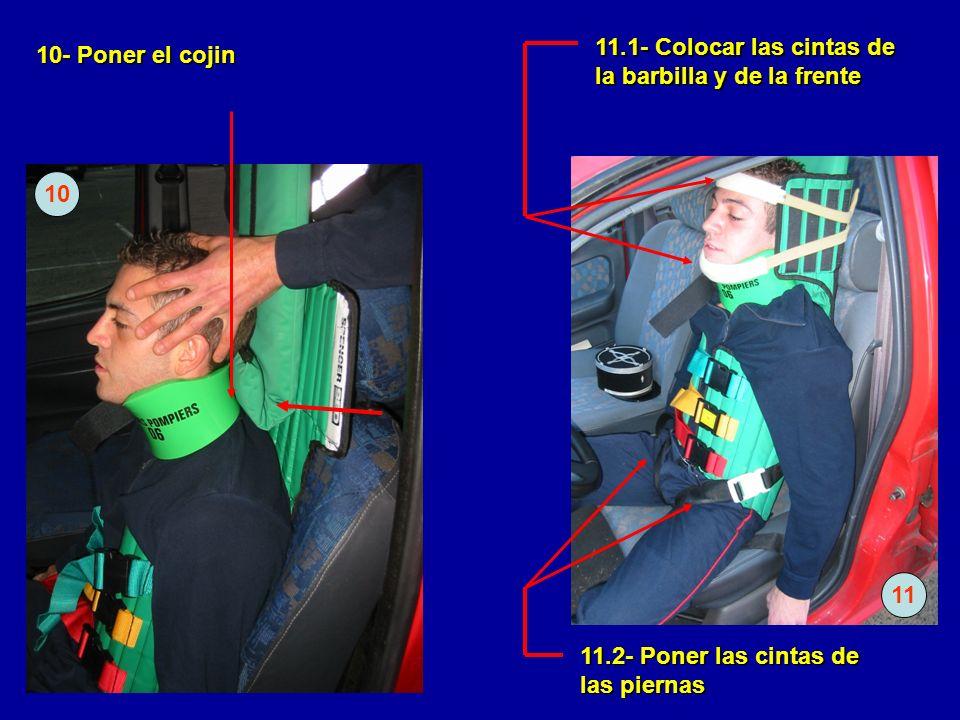 11.1- Colocar las cintas de la barbilla y de la frente
