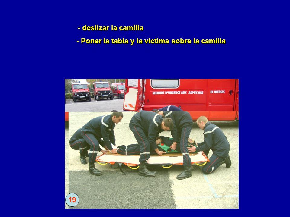 - Poner la tabla y la victima sobre la camilla