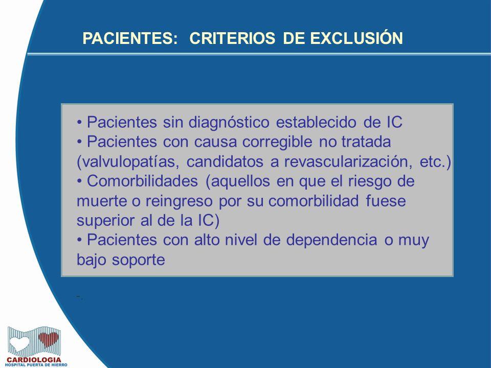 PACIENTES: CRITERIOS DE EXCLUSIÓN