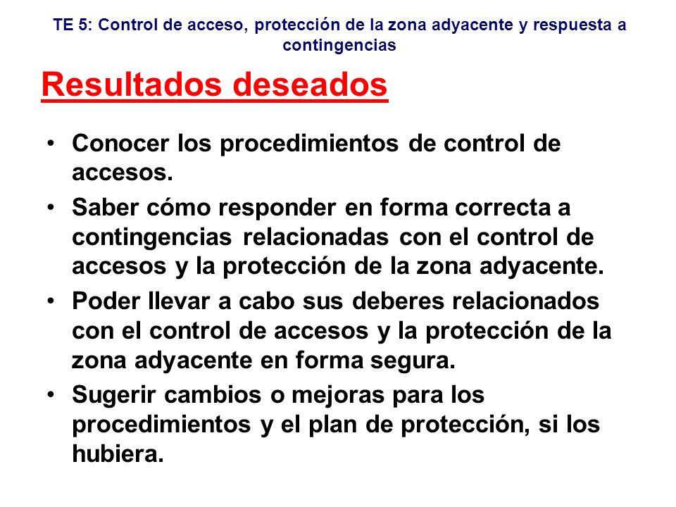 Resultados deseados Conocer los procedimientos de control de accesos.