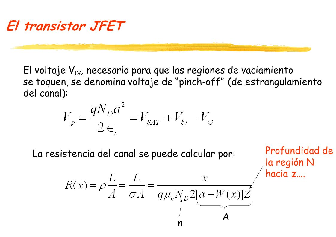 El transistor JFET El voltaje VDG necesario para que las regiones de vaciamiento. se toquen, se denomina voltaje de pinch-off (de estrangulamiento.