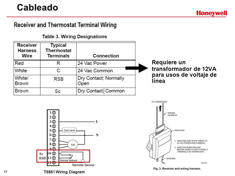 Cableado RSB. Sc. Requiere un transformador de 12VA para usos de voltaje de línea.