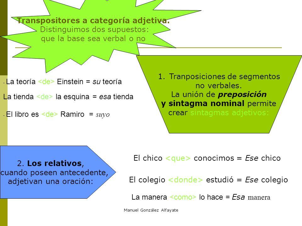 Transpositores a categoría adjetiva.