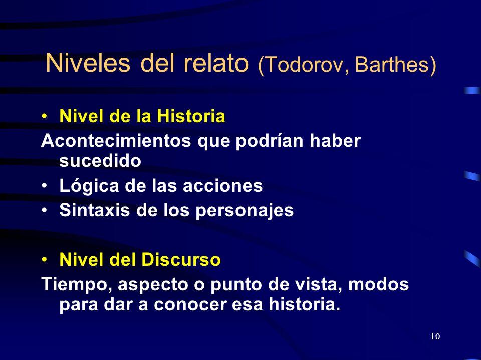 Niveles del relato (Todorov, Barthes)