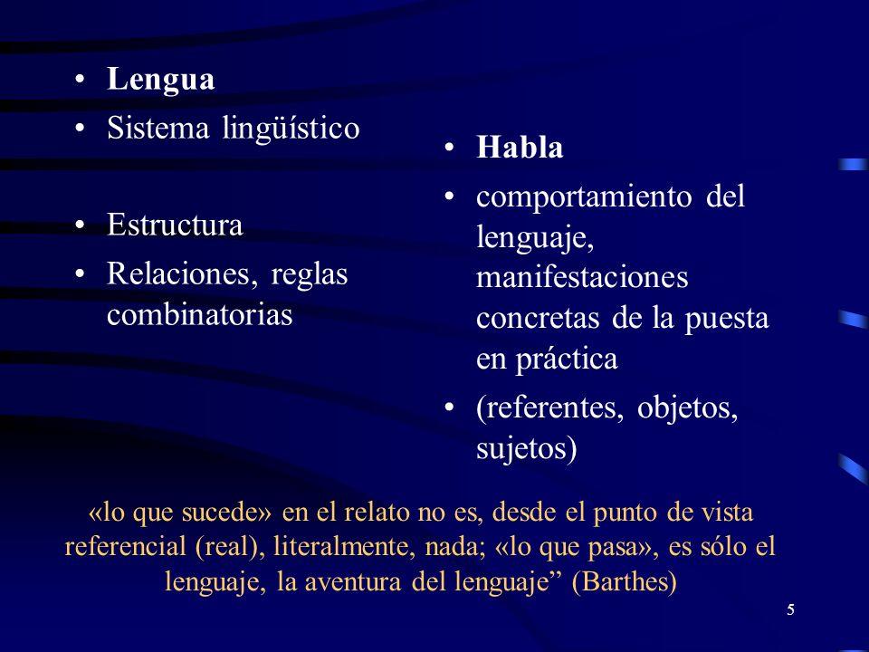 Relaciones, reglas combinatorias Habla