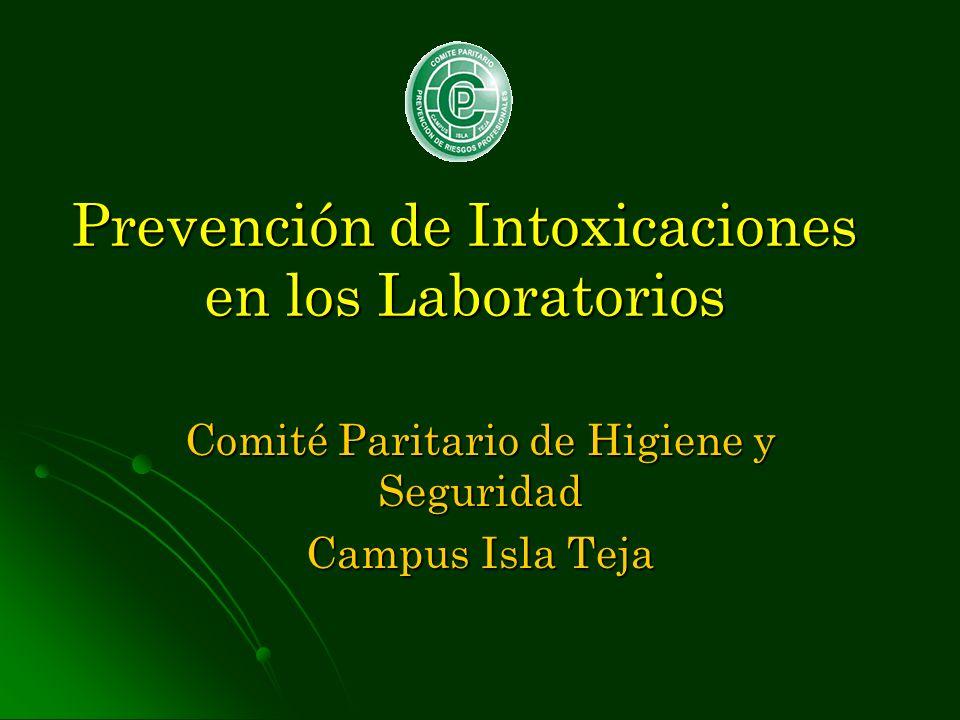 Prevención de Intoxicaciones en los Laboratorios