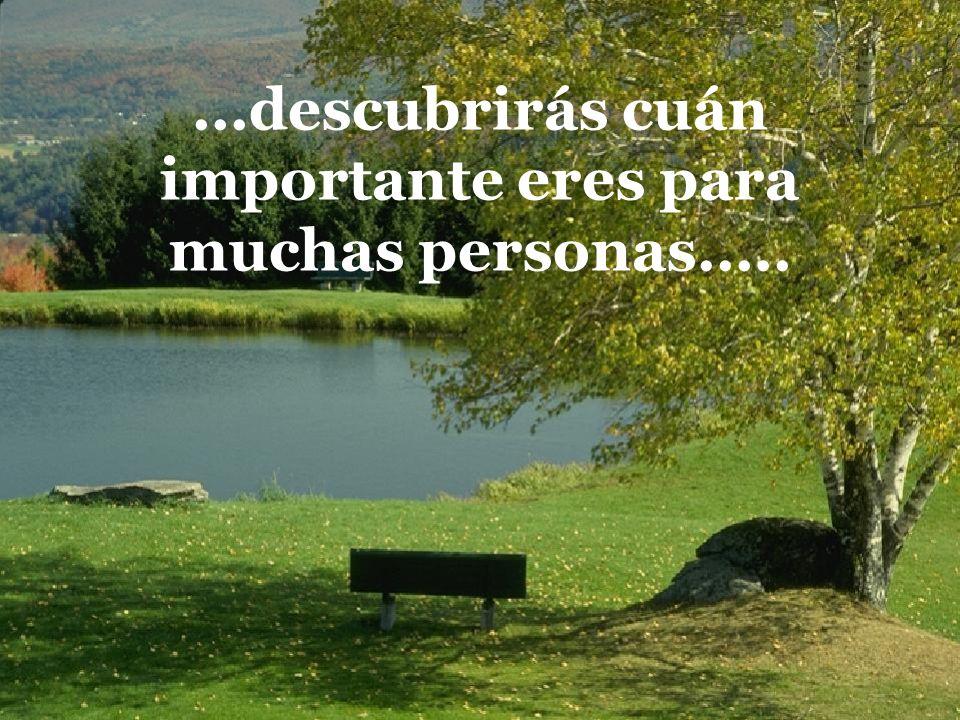 ...descubrirás cuán importante eres para muchas personas.....