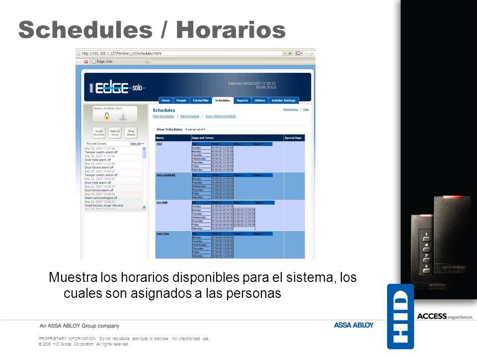 Schedules / Horarios Muestra los horarios disponibles para el sistema, los cuales son asignados a las personas.