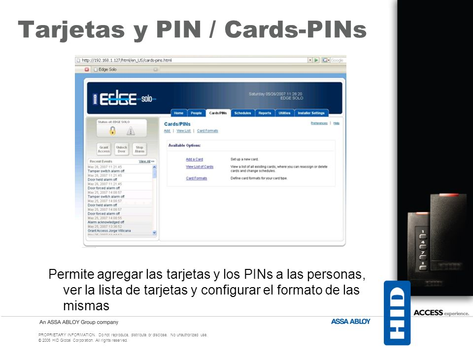 Tarjetas y PIN / Cards-PINs