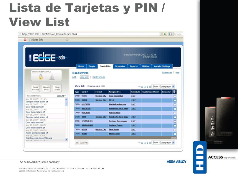 Lista de Tarjetas y PIN / View List