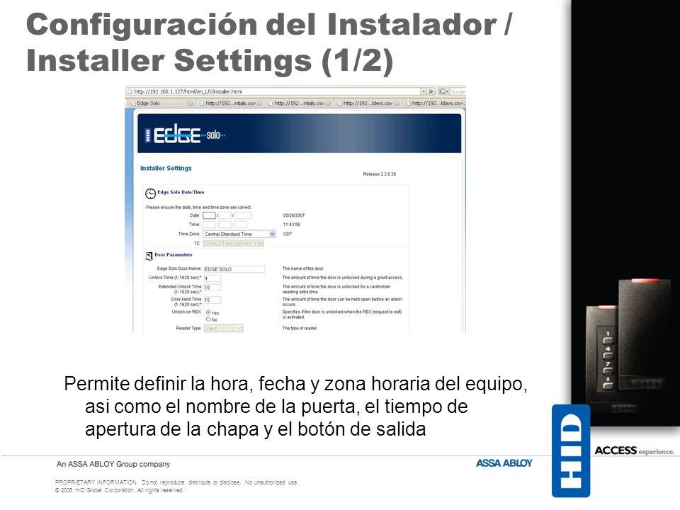 Configuración del Instalador / Installer Settings (1/2)