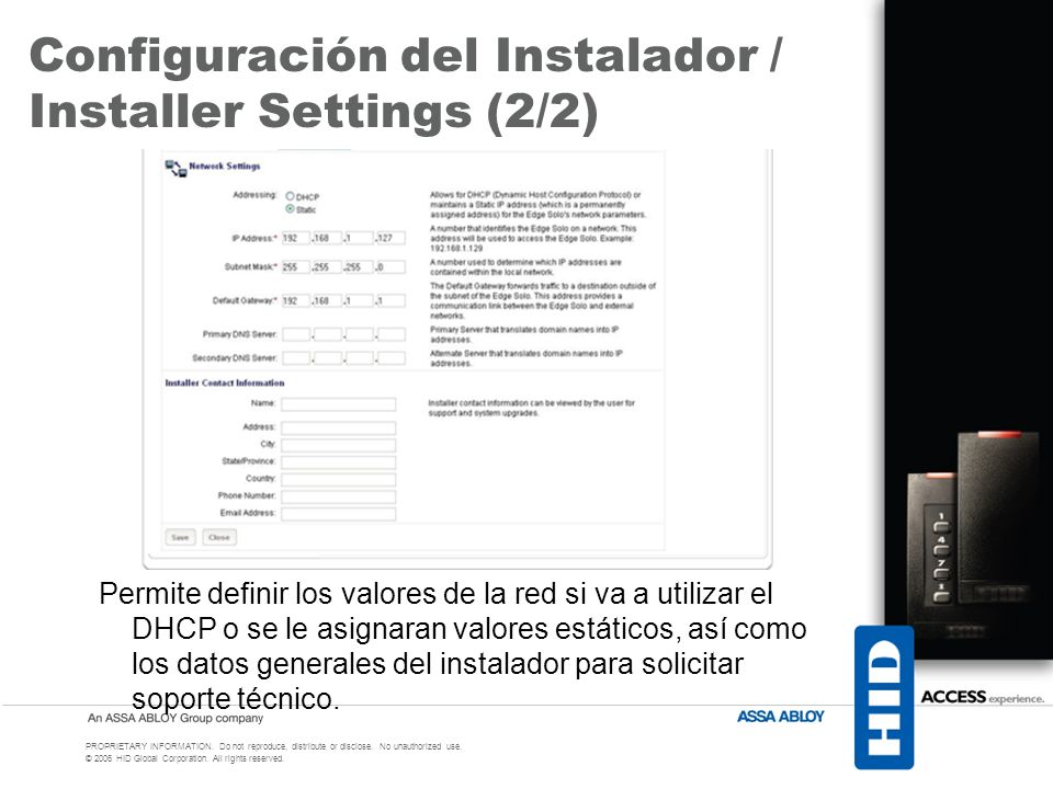 Configuración del Instalador / Installer Settings (2/2)