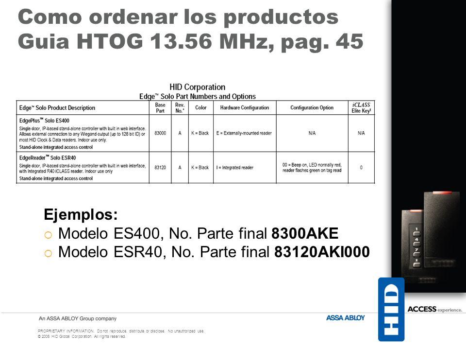 Como ordenar los productos Guia HTOG 13.56 MHz, pag. 45