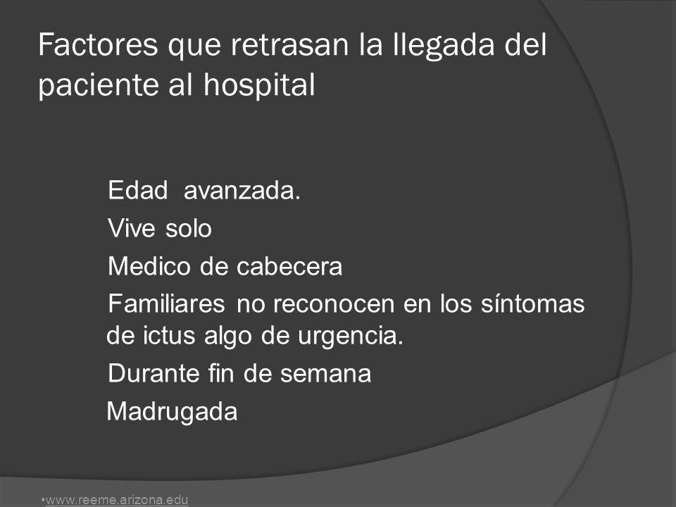 Factores que retrasan la llegada del paciente al hospital