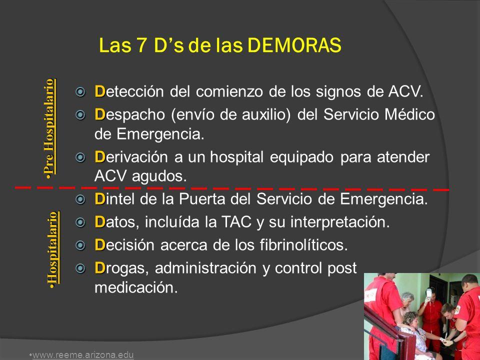 Las 7 D's de las DEMORAS Detección del comienzo de los signos de ACV.