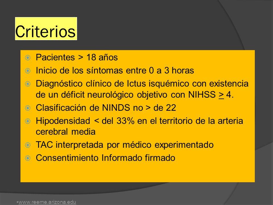 Criterios Pacientes > 18 años