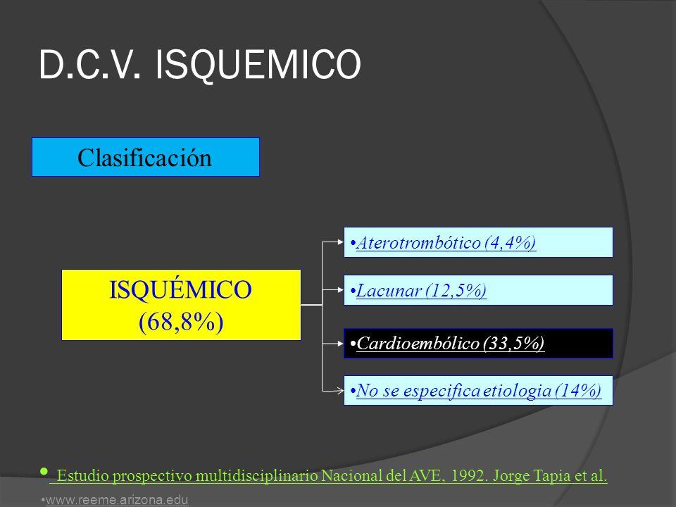 D.C.V. ISQUEMICO Clasificación. Aterotrombótico (4,4%) ISQUÉMICO (68,8%) Lacunar (12,5%) Cardioembólico (33,5%)