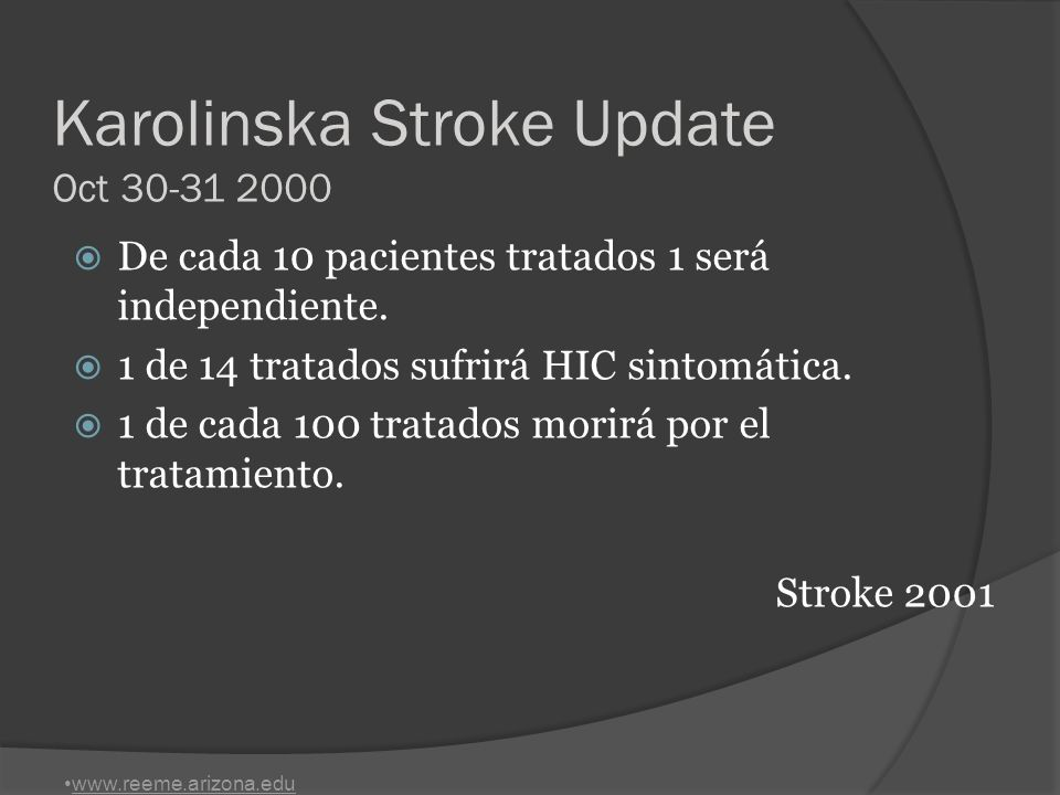 Karolinska Stroke Update Oct 30-31 2000