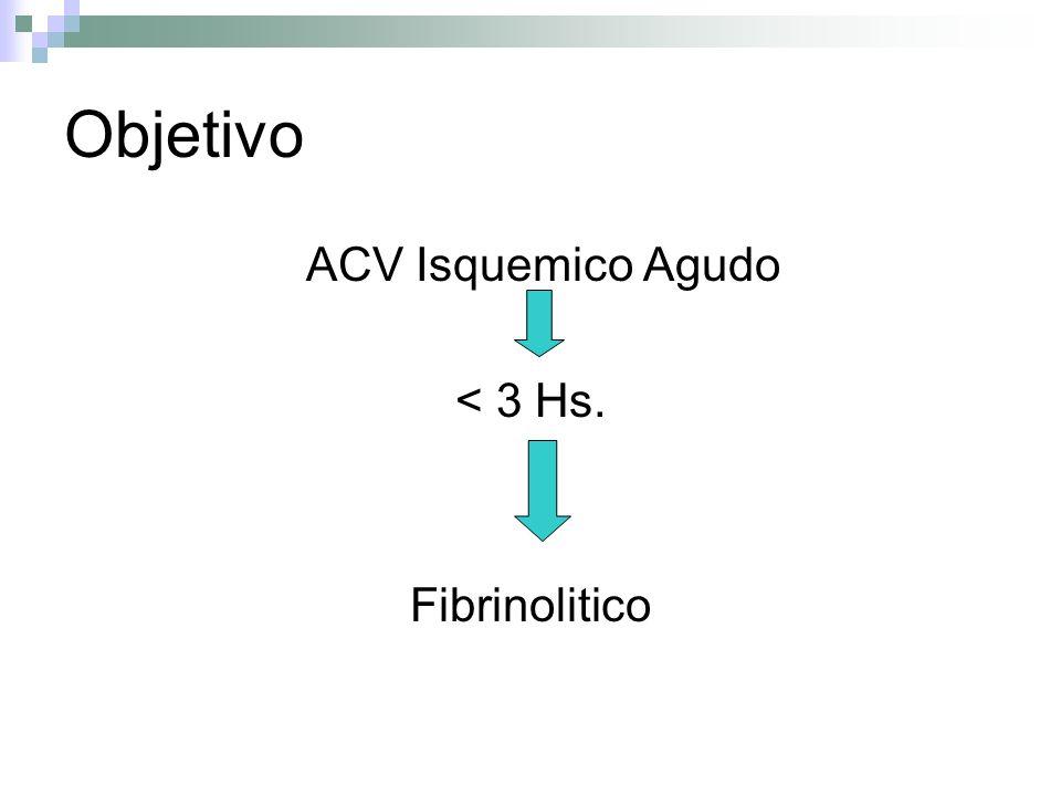 Objetivo ACV Isquemico Agudo < 3 Hs. Fibrinolitico