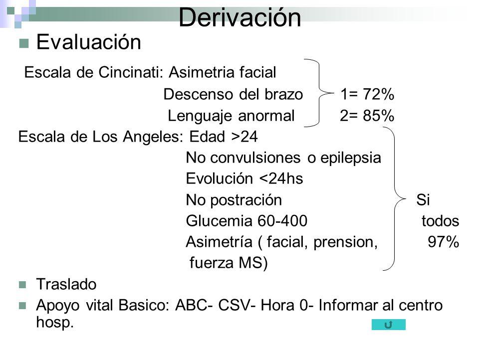 Derivación Evaluación Escala de Cincinati: Asimetria facial