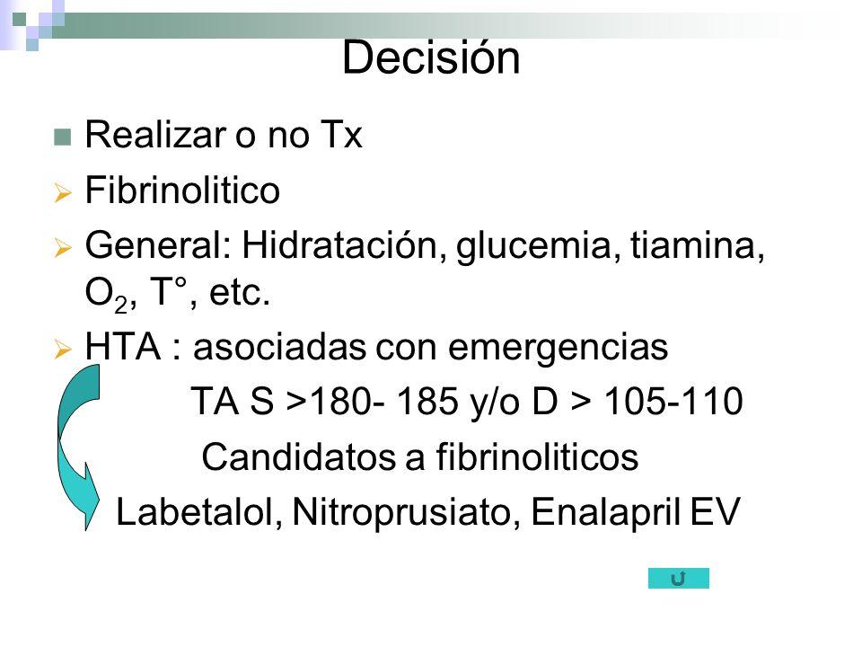Decisión Realizar o no Tx Fibrinolitico