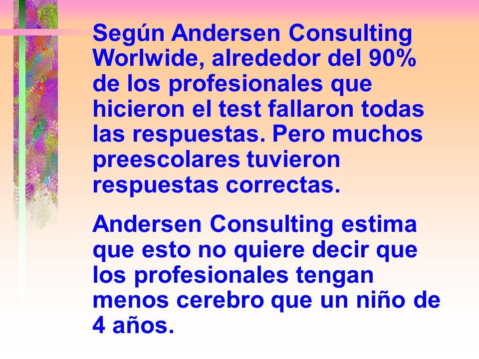 Según Andersen Consulting Worlwide, alrededor del 90% de los profesionales que hicieron el test fallaron todas las respuestas. Pero muchos preescolares tuvieron respuestas correctas.
