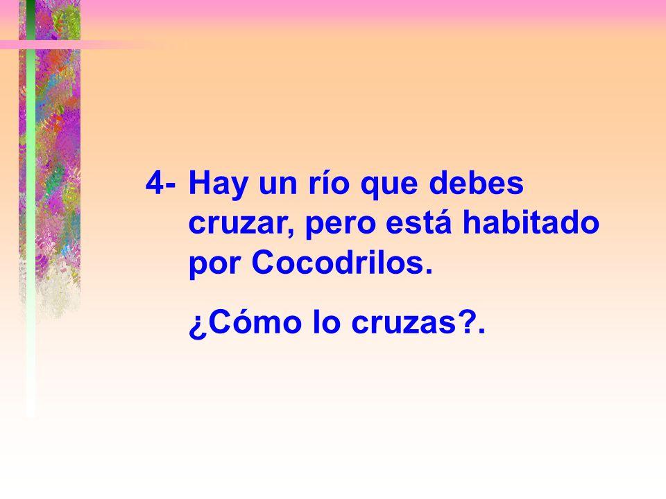 4- Hay un río que debes cruzar, pero está habitado por Cocodrilos.