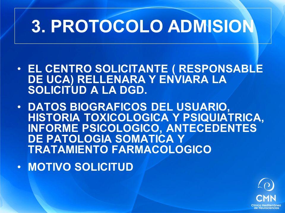 3. PROTOCOLO ADMISION EL CENTRO SOLICITANTE ( RESPONSABLE DE UCA) RELLENARA Y ENVIARA LA SOLICITUD A LA DGD.