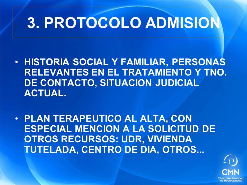 3. PROTOCOLO ADMISION HISTORIA SOCIAL Y FAMILIAR, PERSONAS RELEVANTES EN EL TRATAMIENTO Y TNO. DE CONTACTO, SITUACION JUDICIAL ACTUAL.
