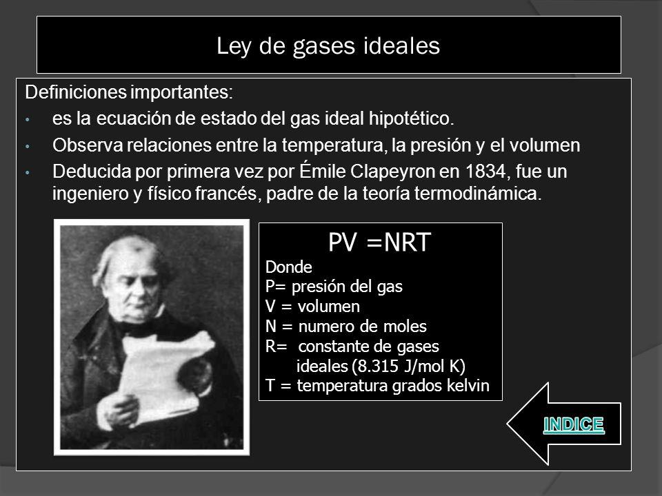 Ley de gases ideales PV =NRT Definiciones importantes: