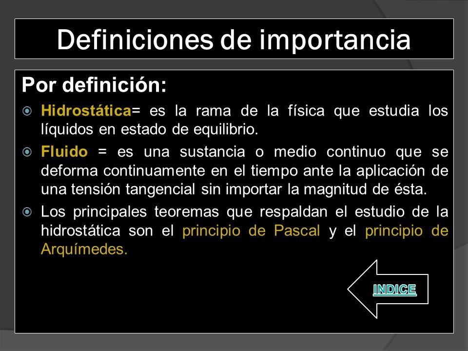 Definiciones de importancia
