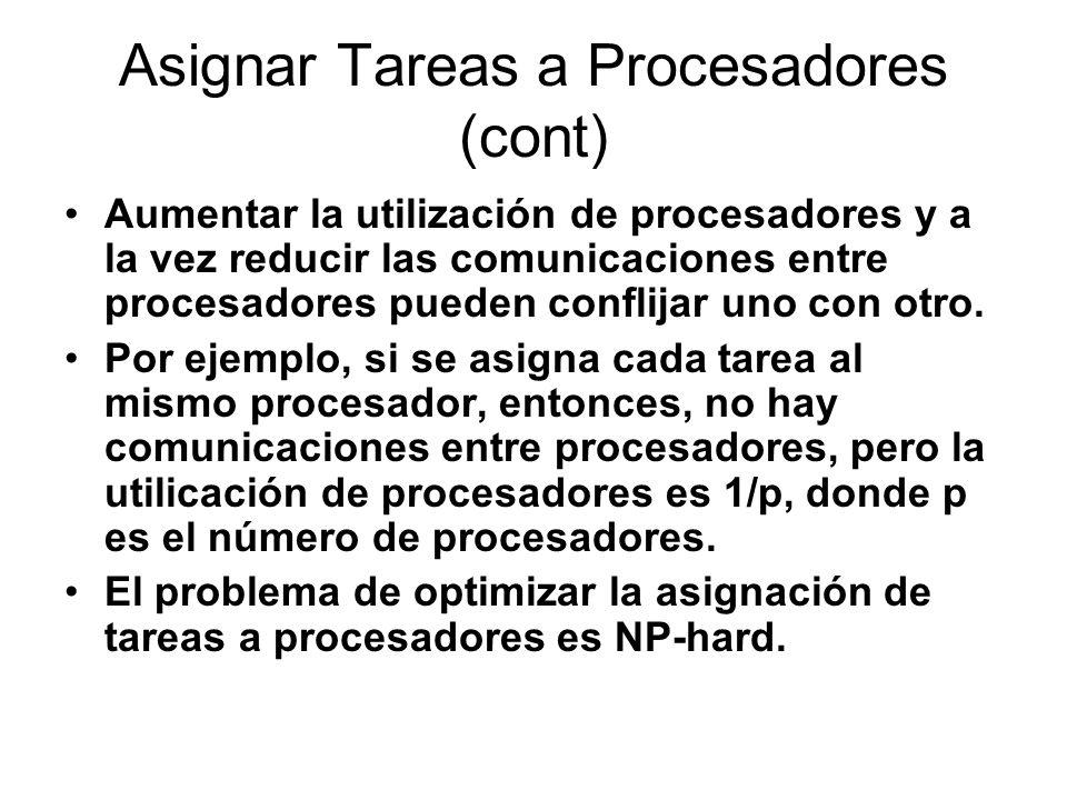 Asignar Tareas a Procesadores (cont)